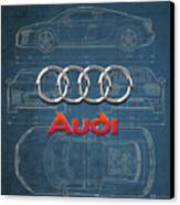 Audi 3 D Badge Over 2016 Audi R 8 Blueprint Canvas Print by Serge Averbukh