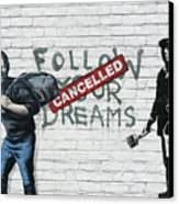 Banksy - The Tribute - Follow Your Dreams - Steve Jobs Canvas Print by Serge Averbukh