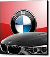 Black B M W - Front Grill Ornament And 3 D Badge On Red Canvas Print by Serge Averbukh