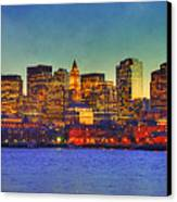 Boston Skyline Sunset Canvas Print by Joann Vitali