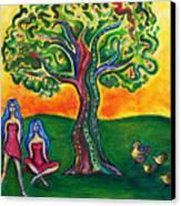Chicas Y Pollos Canvas Print by Brenda Higginson