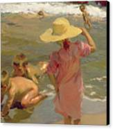 Children On The Seashore Canvas Print by Joaquin Sorolla y Bastida