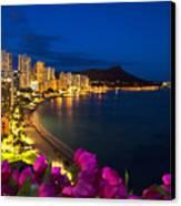 Classic Waikiki Nightime Canvas Print by Tomas del Amo - Printscapes