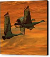 Cranes At Sunrise Canvas Print by Larry Linton