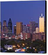 Downtown Dallas Skyline At Dusk Canvas Print by Jeremy Woodhouse
