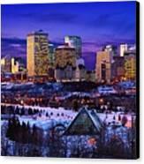 Edmonton Winter Skyline Canvas Print by Corey Hochachka