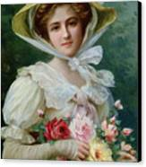 Elegant Lady With A Bouquet Of Roses Canvas Print by Emile Vernon