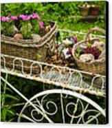 Flower Cart In Garden Canvas Print by Elena Elisseeva