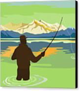 Fly Fisherman Casting Canvas Print by Aloysius Patrimonio
