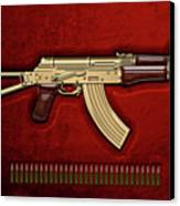 Gold A K S-74 U Assault Rifle With 5.45x39 Rounds Over Red Velvet   Canvas Print