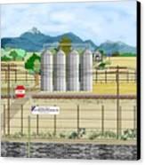 Grain Elevators At Ralston Canvas Print