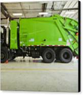 Green Garbage Truck Maintenance Canvas Print by Don Mason