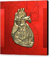 Heart Of Gold - Golden Human Heart On Red Canvas Canvas Print