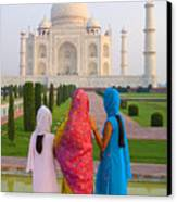 Hindu Women At The Taj Mahal Canvas Print by Bill Bachmann - Printscapes