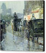 Horse Drawn Cabs At Evening In New York Canvas Print by Childe Hassam