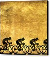 Illustration Of Cyclists Canvas Print by Bernard Jaubert
