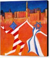 Israel And Usa Dancing Canvas Print by Jane  Simonson
