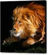 Male Lion Fractal Canvas Print by Julie L Hoddinott