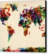 Map Of The World Map Abstract Painting Canvas Print by Michael Tompsett