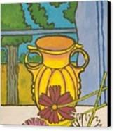 Mccoy Vase With Cosmos Canvas Print
