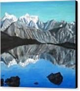 Mountains Landscape Acrylic Painting Canvas Print