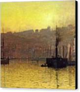 Nightfall In Scarborough Harbour Canvas Print