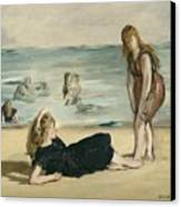On The Beach Canvas Print by Edouard Manet