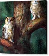 Owls In Moonlight Canvas Print