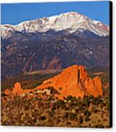 Pike's Peak And Garden Of The Gods Canvas Print by Jon Holiday