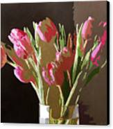 Pink Tulips In Glass Canvas Print