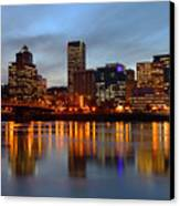 Portland Oregon At Dusk. Canvas Print by Gino Rigucci