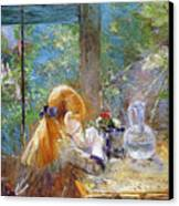 Red-haired Girl Sitting On A Veranda Canvas Print