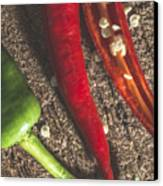 Red Hot Peppers On Wooden  Cutting Board Canvas Print by Deyan Georgiev