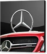 Red Mercedes - Front Grill Ornament And 3 D Badge On Black Canvas Print by Serge Averbukh