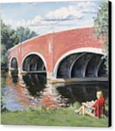 Red Of The Charles Canvas Print by Steven A Simpson