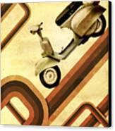 Retro Vespa Scooter Canvas Print by Michael Tompsett