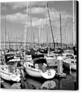 Sail Boats At San Francisco China Basin Pier 42 With The Bay Bridge In The Background . 7d7666 Canvas Print by Wingsdomain Art and Photography