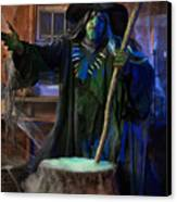 Scary Old Witch With A Cauldron Canvas Print