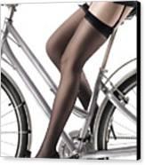 Sexy Woman Riding A Bike Canvas Print by Oleksiy Maksymenko