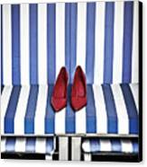 Shoes In A Beach Chair Canvas Print