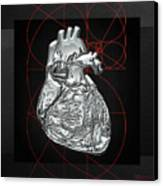 Silver Human Heart On Black Canvas Canvas Print by Serge Averbukh