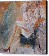 Sitting Young Girl Canvas Print
