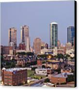 Tall Buildings In Fort Worth At Dusk Canvas Print by Jeremy Woodhouse