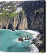 The Turquoise Water At Slieve League Sea Cliffs Donegal Ireland  Canvas Print by Pierre Leclerc Photography