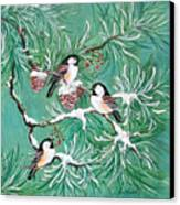 Three Little Chickadees In Pine Canvas Print