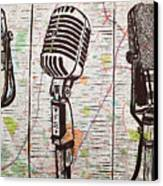 Three Microphones On Map Canvas Print
