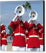 U.s. Marine Corps Drum And Bugle Corps Canvas Print by Stocktrek Images
