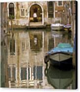 Venice Restaurant On A Canal  Canvas Print