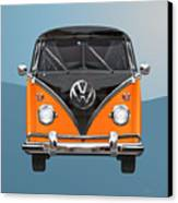Volkswagen Type 2 - Black And Orange Volkswagen T 1 Samba Bus Over Blue Canvas Print by Serge Averbukh