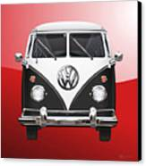 Volkswagen Type 2 - Black And White Volkswagen T 1 Samba Bus On Red  Canvas Print